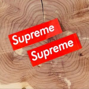 SUPREME Stickers Lot Of 2- Rectangular Red & White